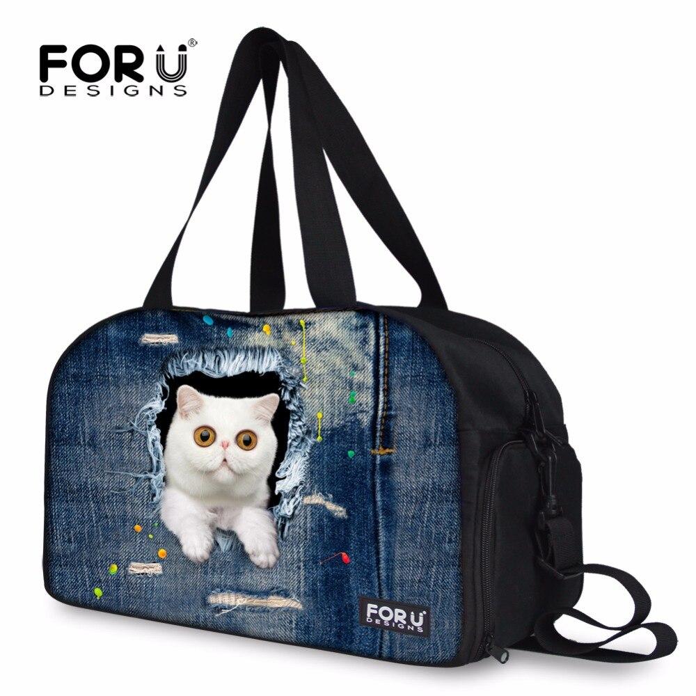 Us 30 79 45 Off Cute Cat Animal Print Women Luggage Travel Duffle Bags Brand Las Overnight Weekenders Totes Bag Multi Funtional Storage In