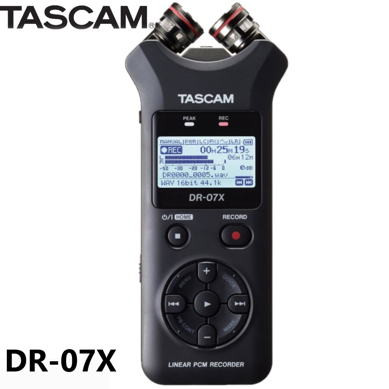 New TASCAM DR07X Stereo Handheld Digital Audio Recorder Interview Recorder pen HD Noise Reduction Recording linear