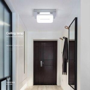 Image 3 - Plafonnier carré en acier inoxydable LED, design moderne, luminaire de plafond réglable, lumière blanche chaude, idéal pour une petite entrée