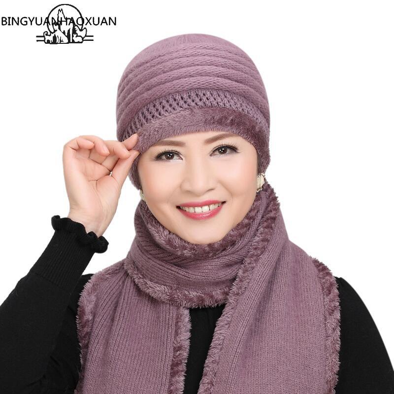 BINGYUANHAOXUAN Rabbit Hair Female Cap Winter Hat Wool Knit Middle-aged Mother Hat Collar Suit Warm Women's Cap Fur Hat Collar