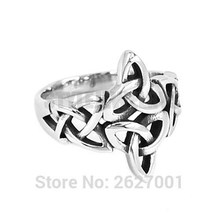 Wholesale Silver Celtic Knot Ring Stainless Steel Jewelry Claddagh Style Fashion Motor Biker Women Ring SWR0637B