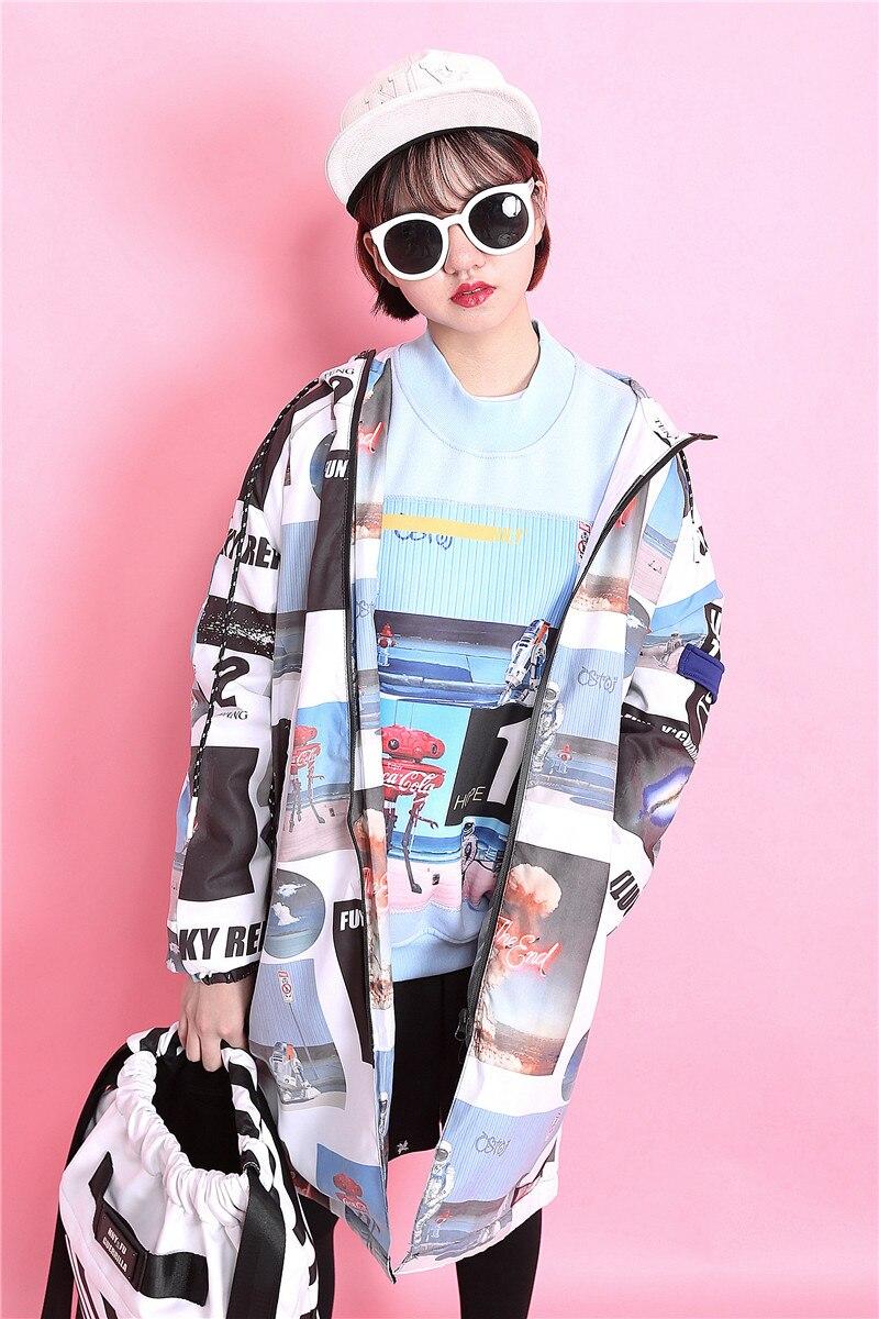 Fashion trend fashion HARAJUKU print street bf loose with a hood long sleeve wadded jacket female