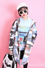 Fashion trend fashion HARAJUKU print street bf loose with a hood long-sleeve wadded jacket female medium-long outerwear