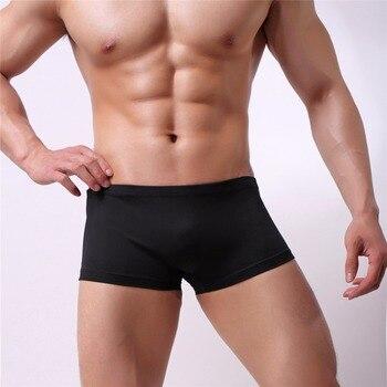 200pcs/lot factory Wholesale Sexy Men Boxer Silk quickly dry Underwear Male  Solid Panties Underpants Cueca Boxershorts Homme