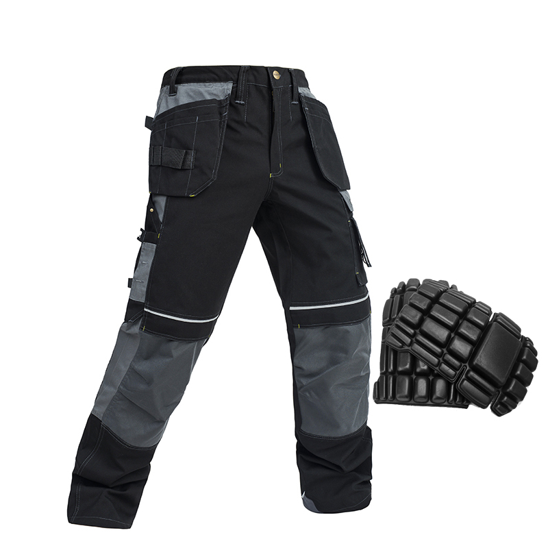 men s cotton working pants with knee pads mechanic craftsman workwear work pants with pockets free