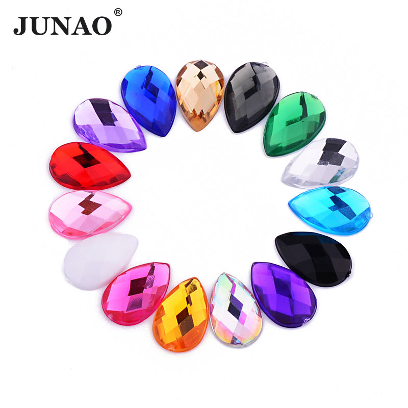 JUNAO 8*13mm 13*18mm Mix Color Drop Crystal Rhinestones Flat Back Acrylic Gems Clear AB Crystals Stones Non Sewing Strass Beads