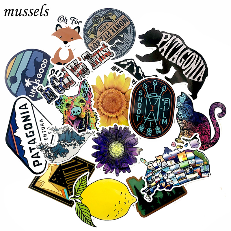 17Pcs Outdoor Fashion Travel Stickers For Laptop Skateboard Guitar DIY Decorative Furniture Motorcycle Graffiti Stickers
