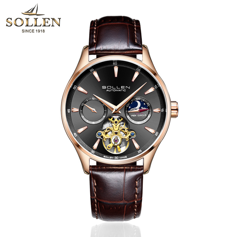 SOLLEN Original Top Luxury Mens Automatic Mechanical Watches Men Leather Watch Male Fashion Casual Business Clock Reloj Hombre