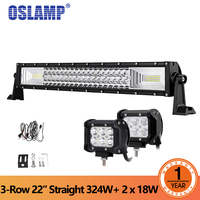 Oslamp 3 Row 22 Straight 324W LED Offroad Light Bar Combo 2pcs 36W Flood Spot Led