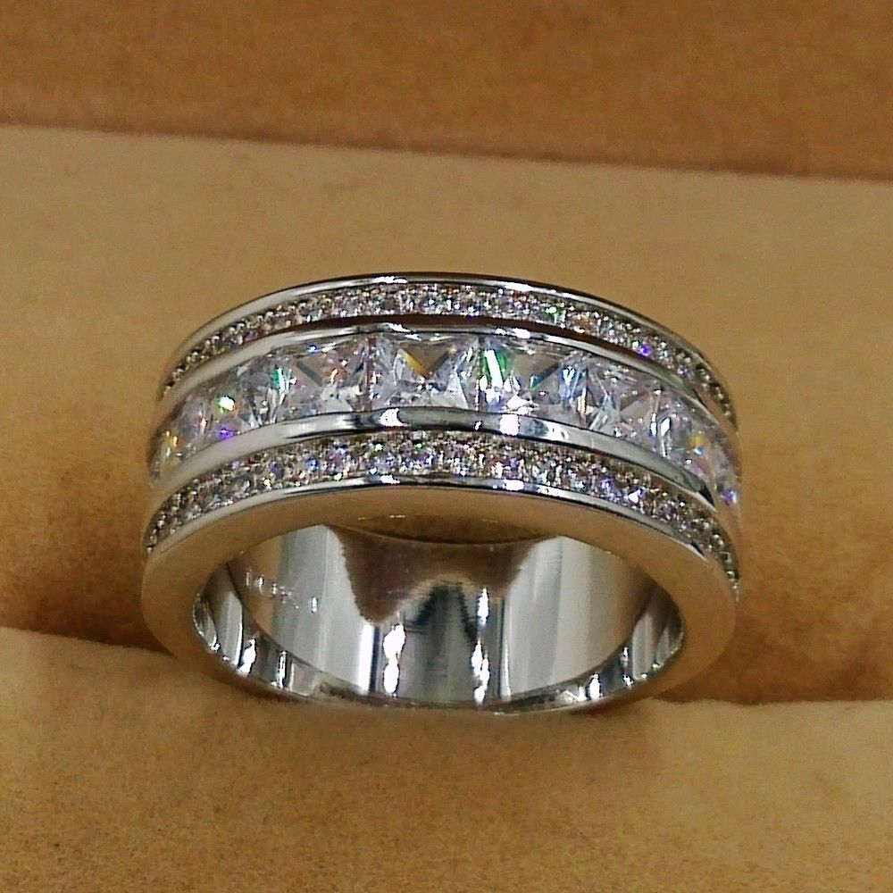 Size 5-11 Fashion Jewelry 10kt white gold filled CZ Diamonique Simulated  Diamond Wedding Circle Ring for christmas gift Choucong