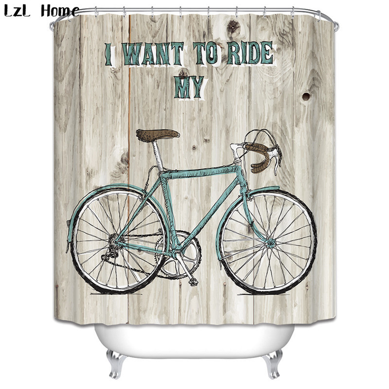 3D Bicycle Shower Curtain High Quality Polyester Fashion Vehicle Models  Curtains Waterproof Home Bathroom Curtain With 12 Hooks In Shower Curtains  From Home ...