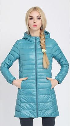Зимняя женская куртка, новинка, тонкий пуховик с капюшоном, женский теплый пуховик, ультра легкие куртки, портативная парка на утином пуху, 6XL - Цвет: Lake blue