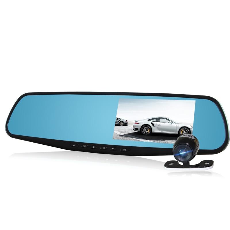 4.3 HD 1080P Dual Lens Video Recorder Dash Cam Rearview Mirror Car Camera DVR