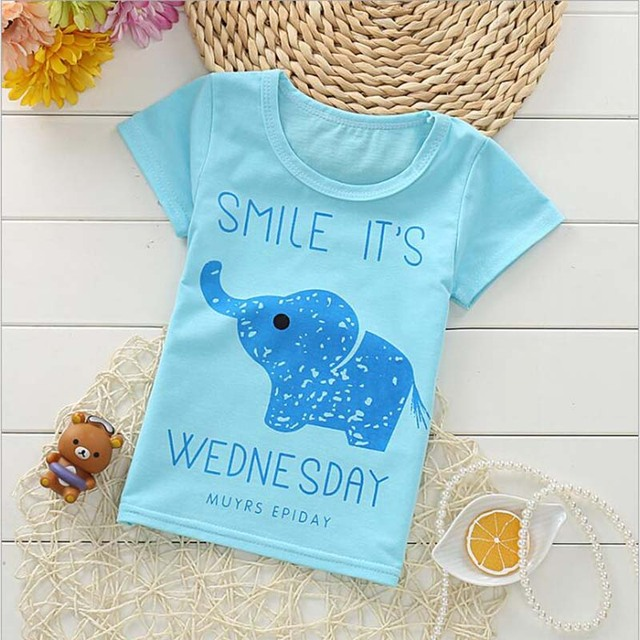 e1e4955bf9c US $2.66 45% OFF 2019 top children's t shirt clothes cartoon star and  animal print 100% cotton short sleeve O neck tshirt clothing for kid-in  T-Shirts ...