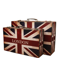 Retro London Wooden Suit Box Clothes Storage Box Luggage Case Home Decorations Vintage Bar Photography Props Window Display