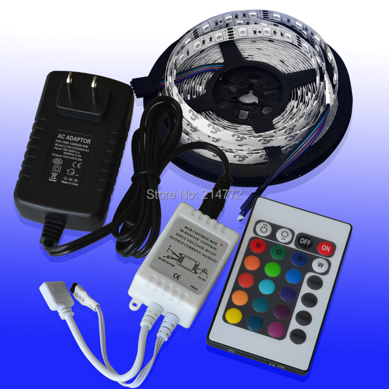 12V 2A Flex RGB LED Light Strip 5050 SMD 300 LED 60 led / m No impermeable +24 Key IR Remote Controller Free Envío