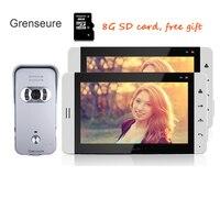 New 7 Color Screen Record Video Intercom Door Phone Kit Outdoor Doorbell Camera 2 White Monitor