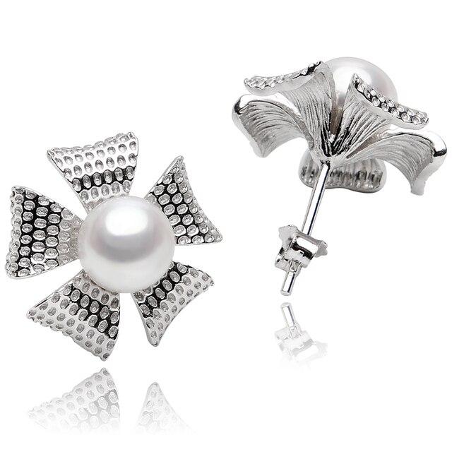 FEIGE Flower shape 925 Sterling Silver Pearl Stud Earring For Women 6-7mm White Natural Freshwater Pearls Earrings Fine Jewelry