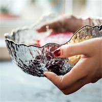 KINGLANG INS Shaped Phnom Penh Glass Bowl Household Fruit Dessert Bowl Personality + Transparent Salad Bowl
