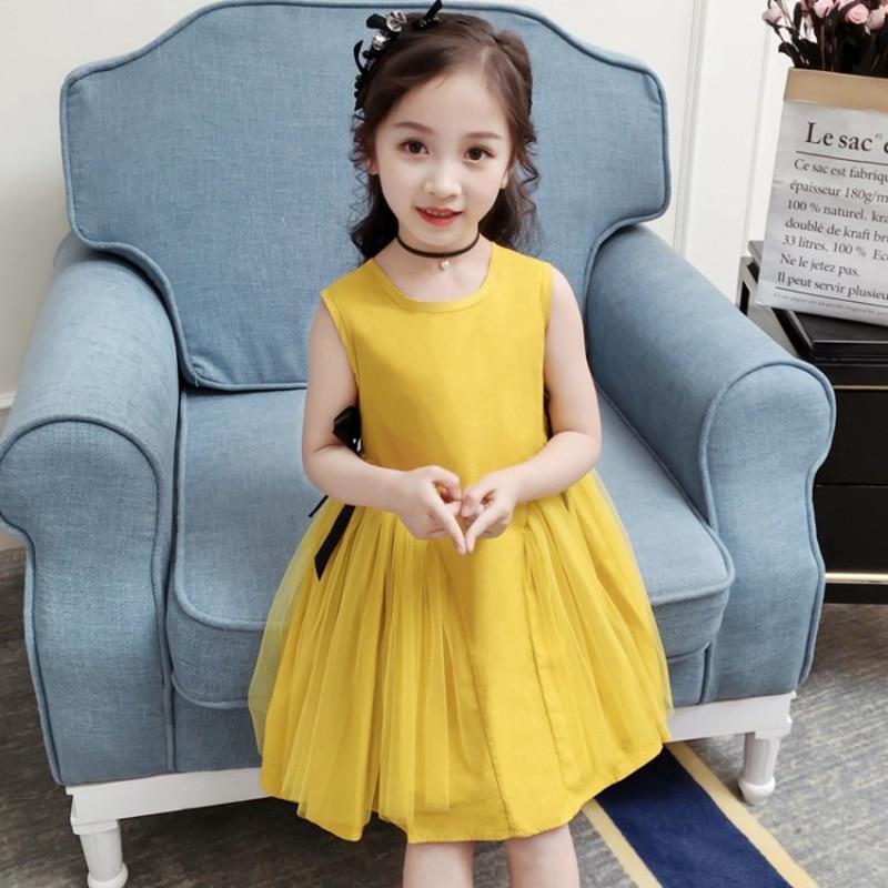 CROAL CHERIE Yellow Party Princess Dress Girl Summer Kids Dresses for Girl Costume Fashion Children Girls Clothing Bow Dress 5