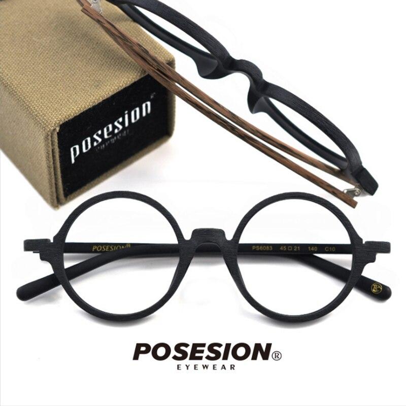 POSESION optique lunettes cadre hommes femmes rétro rond ordinateur lunettes cadre de lunettes pour clair lentille lunettes pour homme PS6083