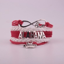GVUSMIL ALABAMA Red+White Multi-Strands Infinity Silver Color Charm Leather Bracelet Bangle for Women Fashion Jewelry 50pcs hot antique silver fashion women infinity red wine glass bangle pendant bracelet chain charm jewelry 17cm 5cm z0345