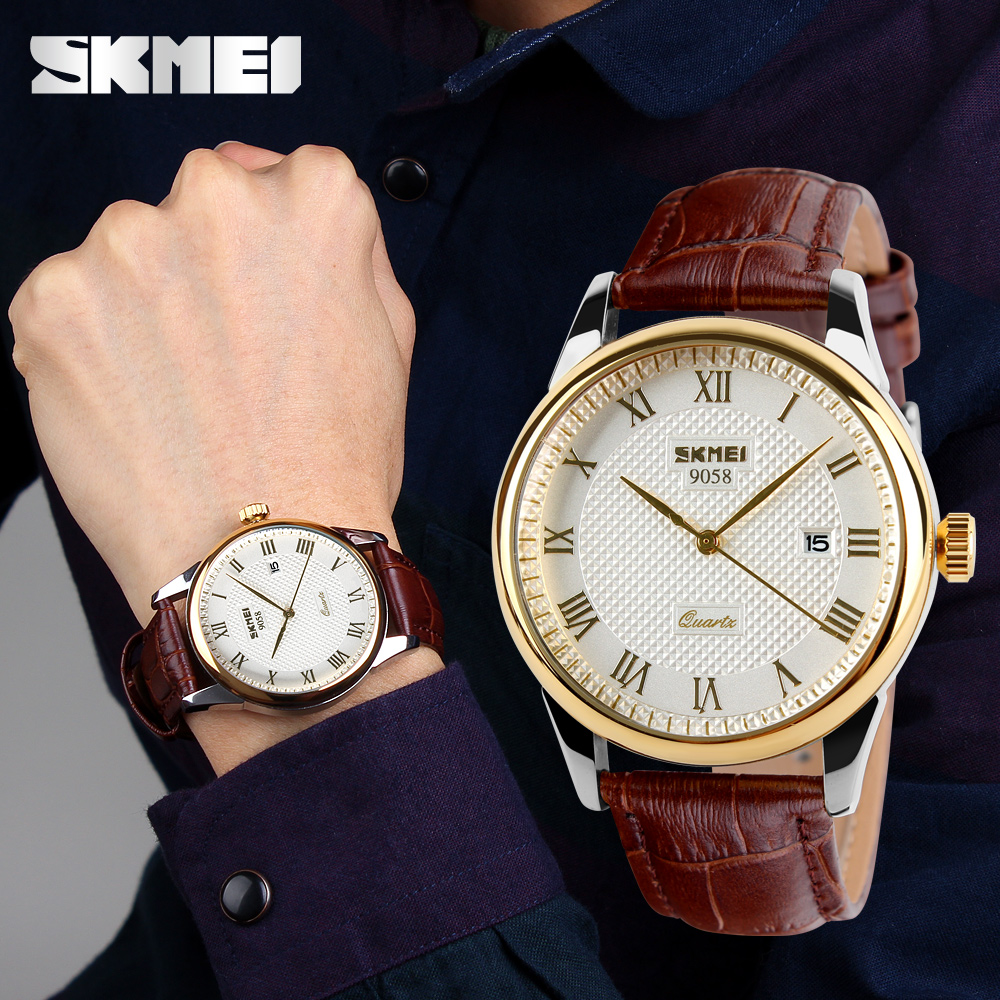 Homens Da Moda SKMEI 30 M À Prova D' Água Relógio Vestido Estilo Britânico Business Casual Relógios de Quartzo Data de Exibição de Pulso Esportes 9058