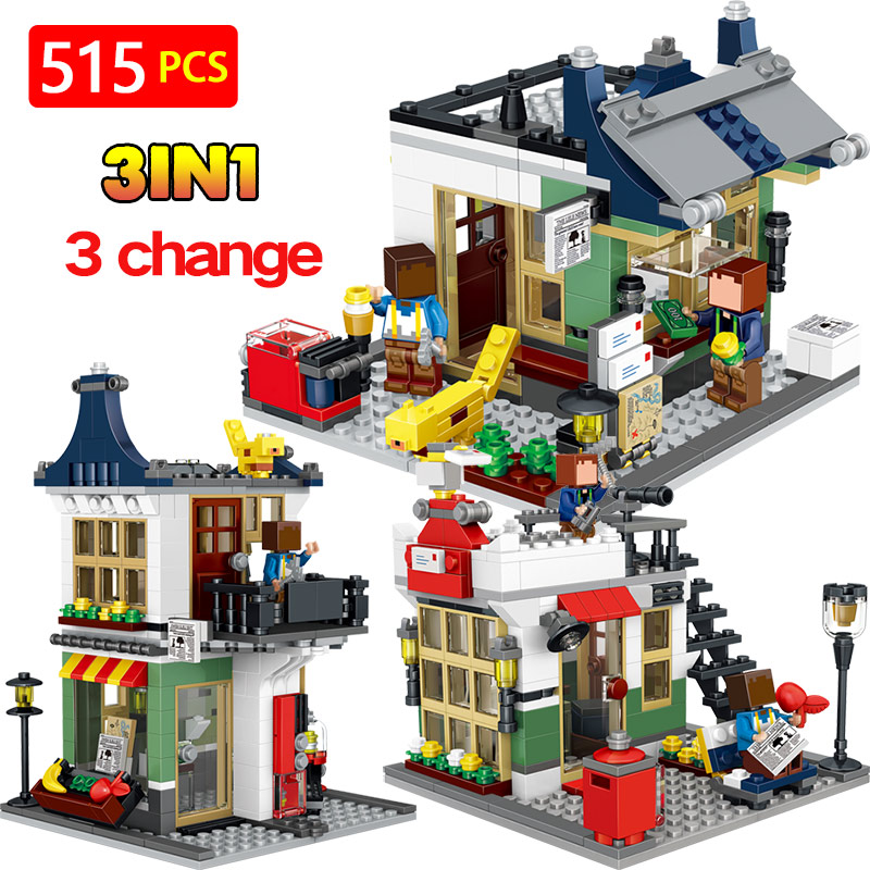 New Hot LegoINGLYS City Street View Store Architecture Technic Building Blocks Mini Action Figures Bricks Enlightening Toys g24 6w 550lm 3000k 55 3014 smd led bulb warm white light bulb white silver ac 85 265v