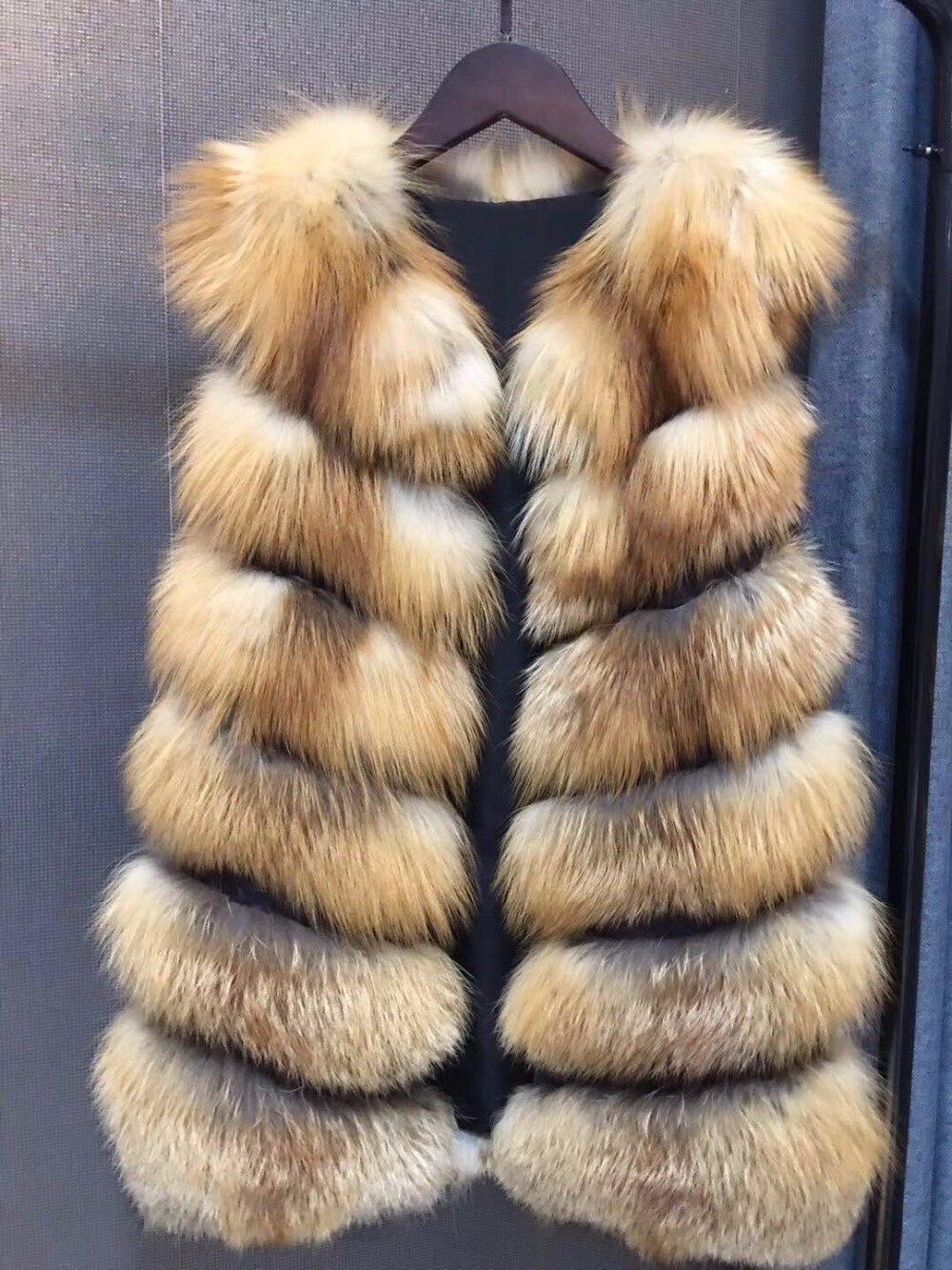 Gilet Hiver Veste Réel Épais Red Fourrure Naturel Femmes Russe Fox Style Véritable yvmnw80NO
