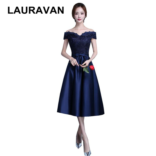 womens semi formal navy blue robe de soiree off shoulder short sexy bridesmaid  dress satin dresses ball gown 2018 free shipping 425930139741
