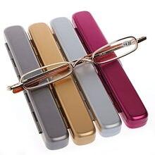 Mini portátil metal quadro completo óculos de leitura óculos com estojo + 1.0 1.5 2.0 2.5 3.0 3.5 4.0 ouro/vermelho/cinza/prata