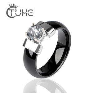 TUHE Black Wedding Ring For Women Engagement Rings Men