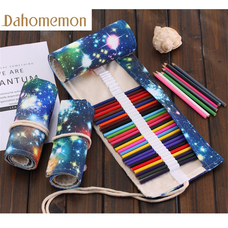 36/48/72 Hole Galaxy of the universe painting Pencil Case Stationery Canvas Pen Roll Up Bag Art Curtain Color Pencils Storage36/48/72 Hole Galaxy of the universe painting Pencil Case Stationery Canvas Pen Roll Up Bag Art Curtain Color Pencils Storage