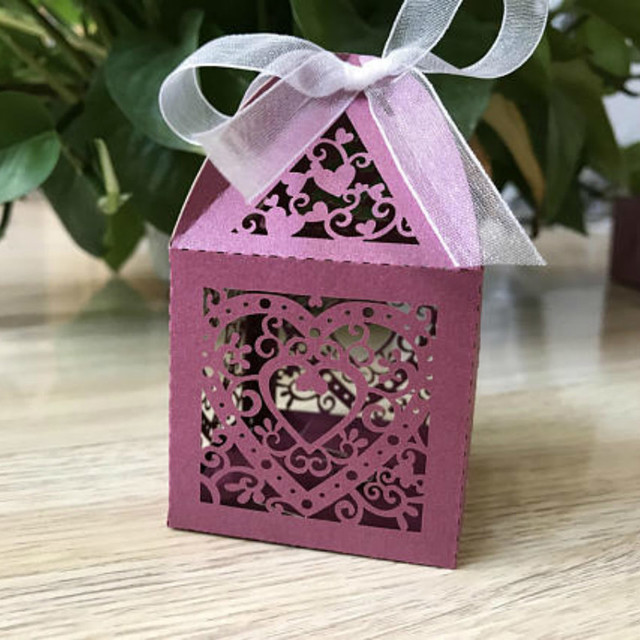 6695cm 50pcs Wine Red Gift Boxes With Ribbon Rustic Wedding Favor