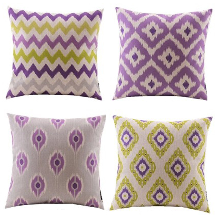 New 4pcs Purple Yellow Diamond Wave Zigzag Chevron Decorative Cushion Cover Throw Pillow Case Cotton And Linen Geometric Style In From Home