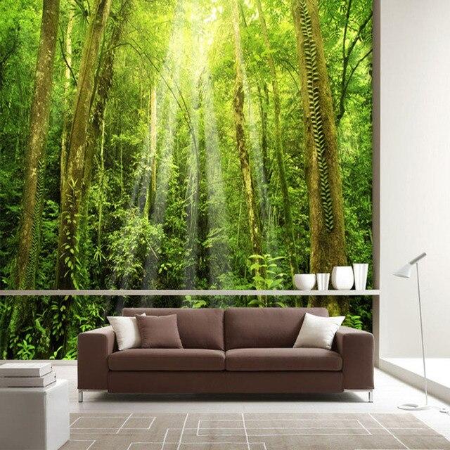 3d zon oerwoud muurschildering sofa achtergrond behang