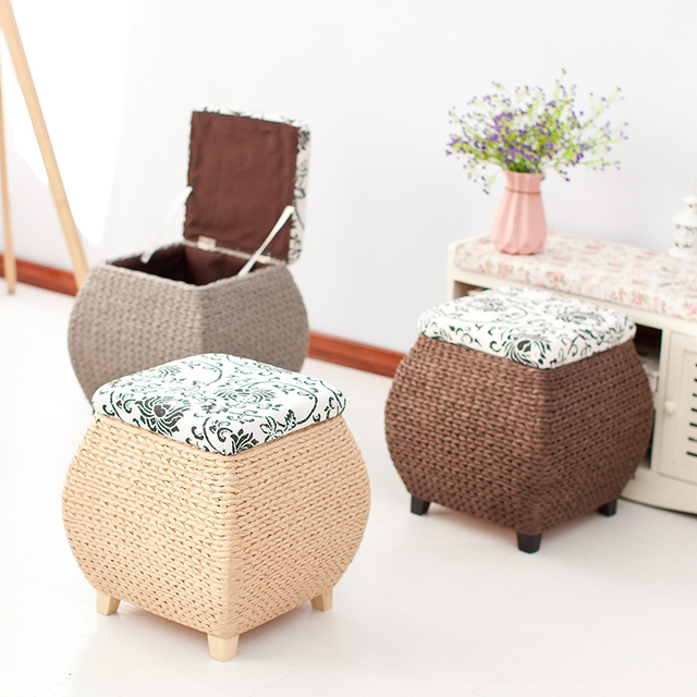 Merveilleux Handmade Storage Stool Ottoman Home Decoration Furniture Storage Toys Rattan  Wicker Chair Door Bench Kids Children