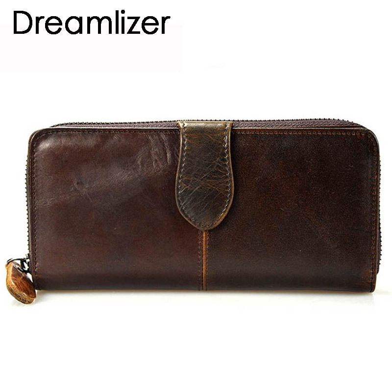 Dreamlizer Vintage Oil Real Leather Women Wallet Gran Compartimiento Largo de Cuero Femenino Embrague Monedero Bolsa de Teléfono Celular Billetera Señora