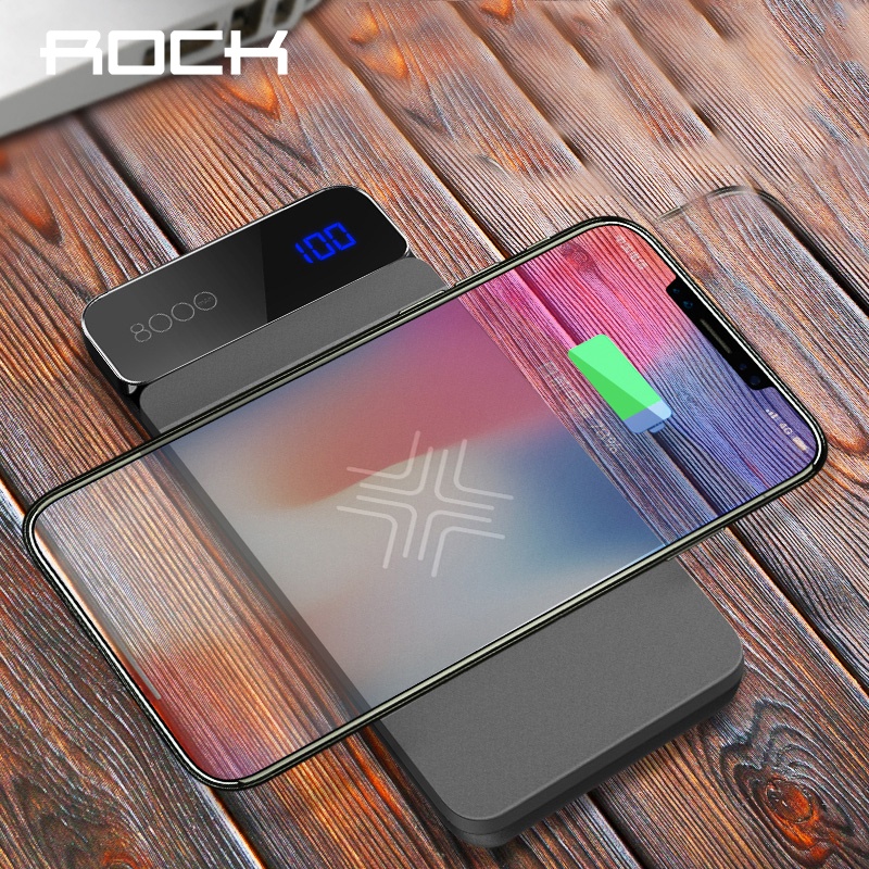 ROCK 8000mAh Wireless Charging External Battery LCD Wireless Charger Power Bank For iPhone X Xr Xs Max Powerbank