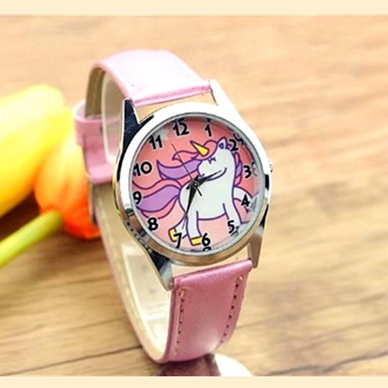 2019 Hot Fashion Cute Unicorn Cartoon Little Girl Quartz Watch Waterproof Sports Leather Watch Women's Baby Watch Gift