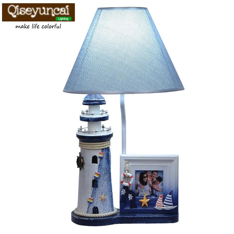 Qiseyuncai new Mediterranean children's room fashion cartoon table lamp boy bedroom bedside warm decoration adjustable desk lamp