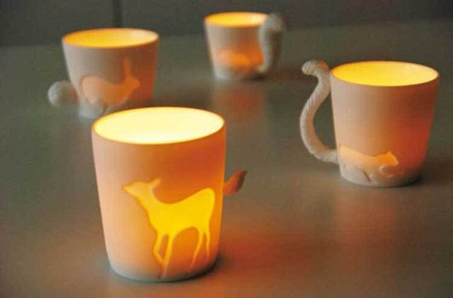Cute kinto animal cup frosted ceramic candlestick&mug