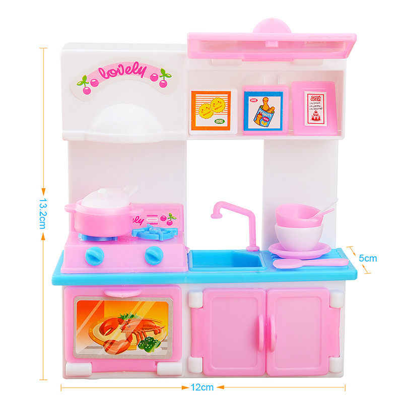 20 Pcs Kitchen Set For Barbie Doll House Furniture Dinner Table