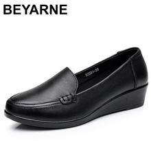 BEYARNE 2019Mother Old Female Women Shoes Flats Cow Genuine Leather Loafers Round Toe Slip On PU Superstar Size 35-41E179