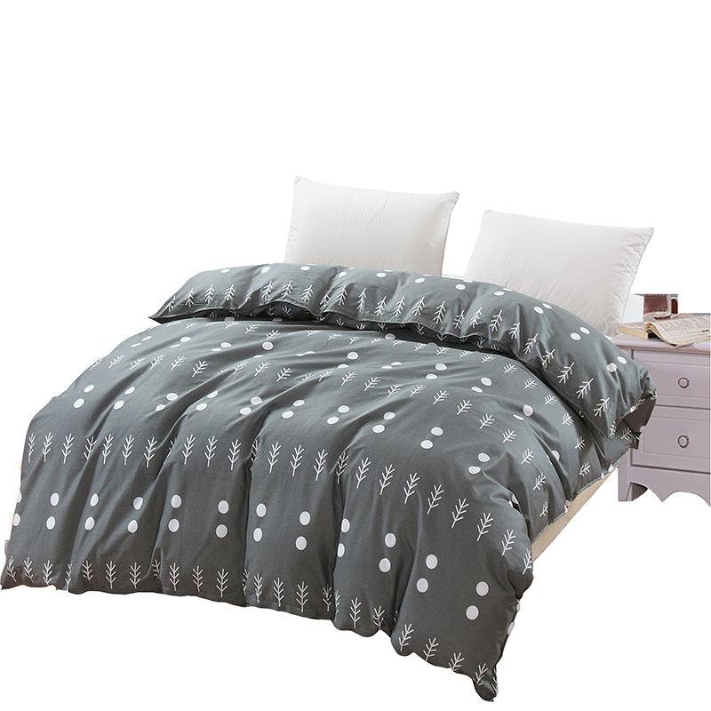 Simple Light Grey White Cartoon Tree Pattern Bedding 1Pcs Duvet Cover With Zipper 100% Cotton Quilt Or Comforter Or Blanket Case