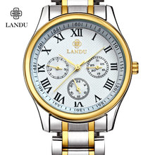 LANDU Люксовый Бренд Мужчин Кварцевые Часы Из Нержавеющей стали Водонепроницаемый Повседневная Наручные часы для Человека Спортивные relojes Открытый Часы
