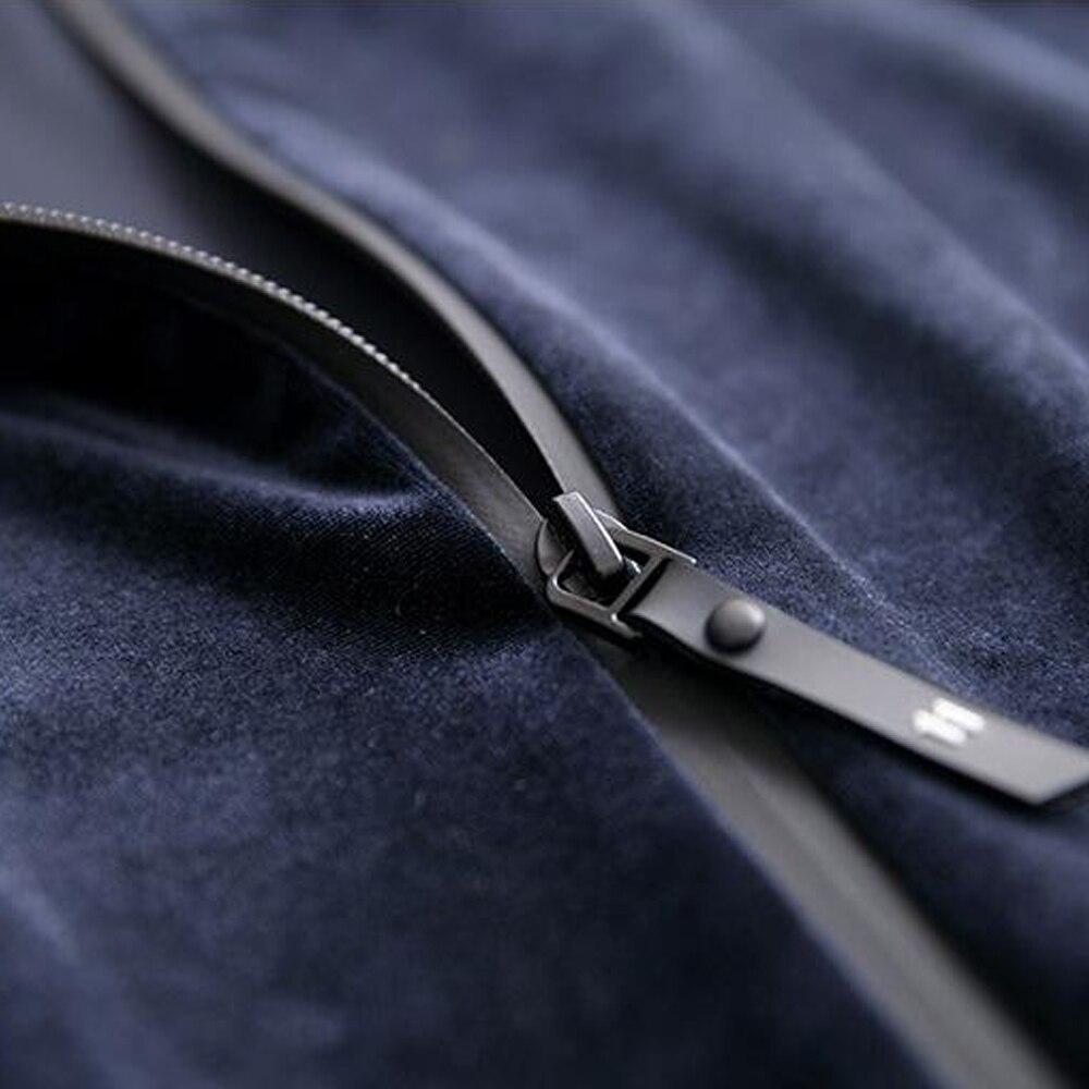 Automne Longues Manteau Costume Mode Survêtements Femmes 2019 Printemps De Zipper Marine Pantalon À Velours Pièces Bleu Coréenne Grande Manches Taille Mince Deux g4qzvwxIcn