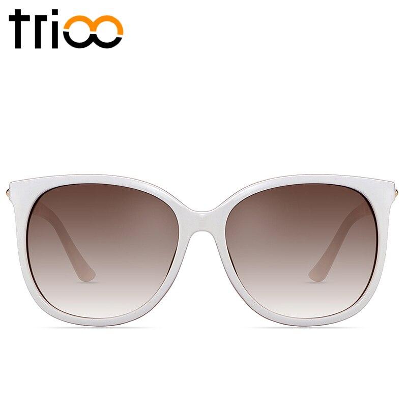 TRIOO Women Sunglasses <font><b>High</b></font> <font><b>Quality</b></font> Smooth <font><b>White</b></font> <font><b>Frame</b></font> Oculos Polarized Driving Lens Female Sun <font><b>Glasses</b></font> New Luxury Brand Lunette