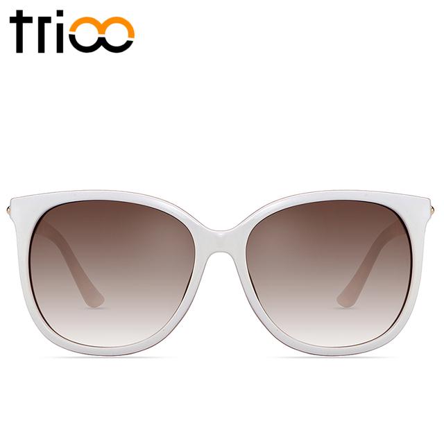 Trioo mulheres óculos de sol de alta qualidade suave branco quadro lente polarizada condução óculos de sol feminino oculos new luxo marca luneta