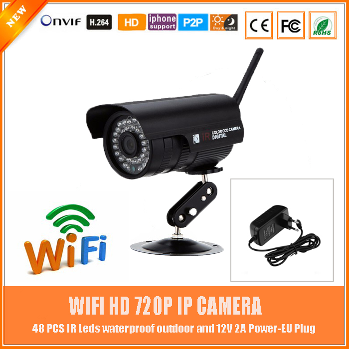 Wifi 1.0mp Hd Bullet Ip Camera 720p Motion Detect Wireless Outdoor Waterproof Infrared Cmos Metal Cctv Webcam Freeshipping Hot wistino white color metal camera housing outdoor use waterproof bullet casing for cctv camera ip camera hot sale cover case